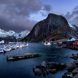 Winter Hamnoya  Harbor by Norma Brandsberg