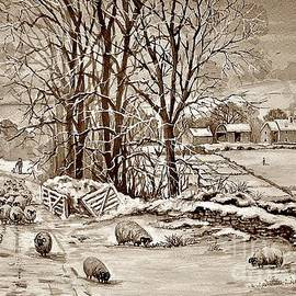 Winter in the Ribble Valley sepia by Andrew Read