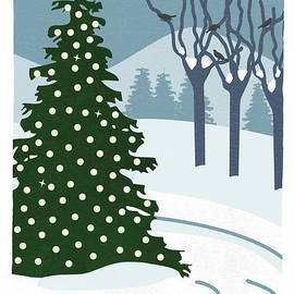 Winter Landscape with Snow by Connie Moore Designs