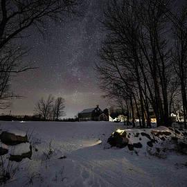 Winter Night at a Farm 1 by John Meader