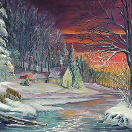 Winter Sunset By The River by Nancy Griswold