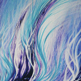 Winter Time - Acrylic Painting on Canvas, Abstract Art in Blue and Purple by Aneta Soukalova