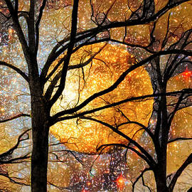 Winter Trees under a Full Moon Abstract Painting Landscape by Debra and Dave Vanderlaan