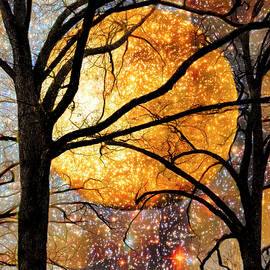Winter Trees under a Full Moon Abstract Painting Vertical by Debra and Dave Vanderlaan