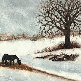 Winter Winds Horse Pastures H by Janine Riley
