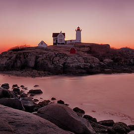 Winter's Dawn at Nubble Light, York, ME by Betty Denise