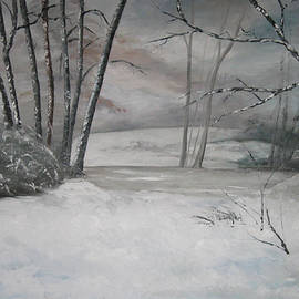 Oil Painting Winter's Dawning through the Mist and Fog by Catherine Ludwig Donleycott