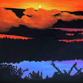 River Sunset With Artist Initials  -  riversunsetinitials