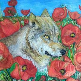 Wolf and Red Poppies by Maria Sibireva