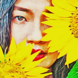 Woman In Sunflowers by KaFra Art