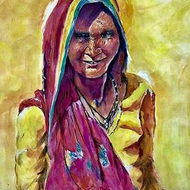 Woman in yellow and pink by Khalid Saeed