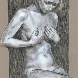 Woman nude charcoal drawing by Katarzyna Gagol