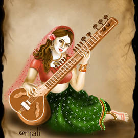Woman playing Sitar by Anjali Swami