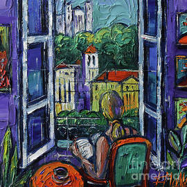 WOMAN READING AT THE WINDOW oil painting Mona Edulesco by Mona Edulesco