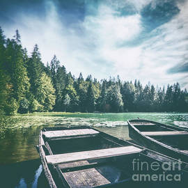 Wonderful weathered boat on riverbank of small altitude french Genin lake by Gregory DUBUS