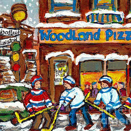 Woodland Pizza Famous Landmarks Verdun Montreal Street Hockey Painting Canadian Artist C Spandau Art by Carole Spandau