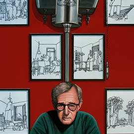 Woody Allen in front of Yrrah Painting by Paul Meijering