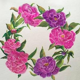 Wreath of Peonies  by Nancy Rabe