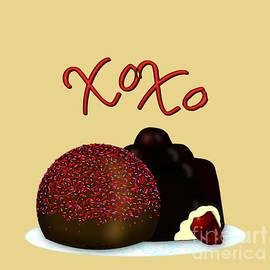 XOXO Valentine Bonbon and Dark Chocolate Covered Cherry by Colleen Cornelius