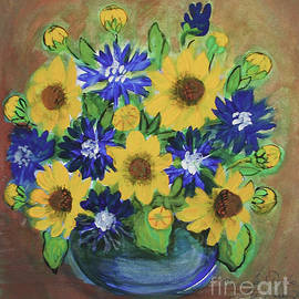 Yellow and Blue Flowers by Anna Folkartanna Maciejewska-Dyba