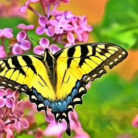 Yellow Easter Swallowtail on  syringa vulgaris  by Geraldine Scull