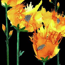Yellow Flowers on Black by Deborah League