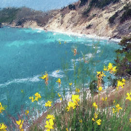 Yellow Flowers over the Sea Bay by Alex Mir