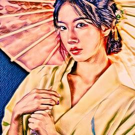Yellow Kimono by KaFra Art