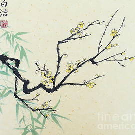 Yellow Plum Blossom with Green Bamboo by Birgit Moldenhauer