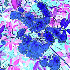 Yellow Rose Cluster - Color Invert on a Sunny Day by Marian Bell