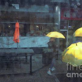 Yellow Umbrellas in the Rain by Deb Nakano