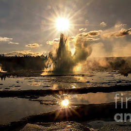 Yellowstone Great Fountain Geyser  by Wildlife Fine Art