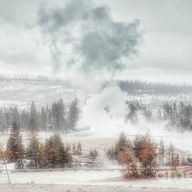 Yellowstone Old Faithful in Winter by Charline Xia