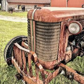 Yesterday's Tractor Front View in Charcoal  by Bill Swartwout