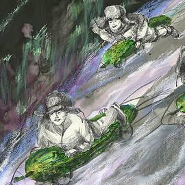 Young green. Cucumber Race - original mix-media artwork by Maria Shchedrina