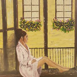 Young Woman Waiting in Window by Brenda Schwartz