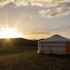 Yurt, Steppe and Sun by Martin Vorel Minimalist Photography