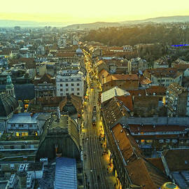 Zagreb At Sunset by Jasna Dragun