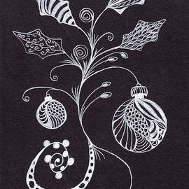 Zentangle Christmas Ornaments and Holly Leaves