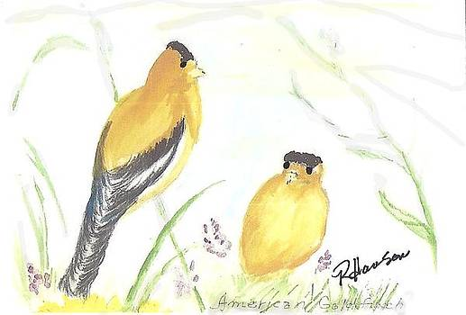 American Goldfinches  by Ruthann  Hanson
