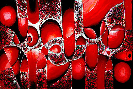 Best Art Choice AWARD Original Abstract Oil Painting Modern Red Contemporary House Wall Deco Gallery by Emma Lambert