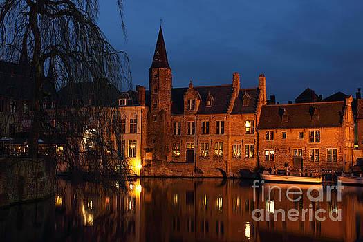 Bruges Rozenhoedkaai Night Scene by Kiril Stanchev
