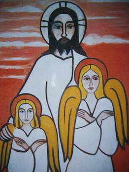 Jesus and angels by Michael C Doyle