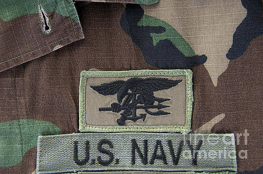 Navy SEAL trident on camoflauge by Cheryl Casey