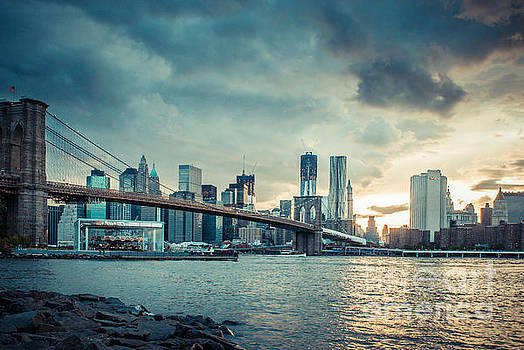 NYC skyline in the sunset v1 by Hannes Cmarits