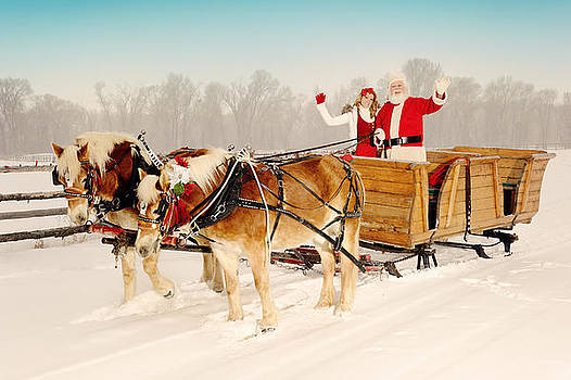Santa and His Helper Driving A Team Of Horses by Kriss Russell