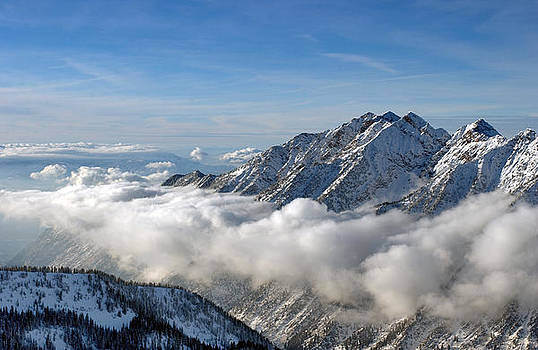 Spectacular view to the Mountains from Snowbird ski resort in UT by Anton Oparin