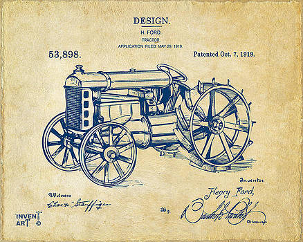 1919 Henry Ford Tractor Patent Vintage by