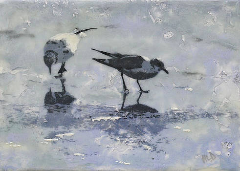 2 Gulls On Ice by Heather Douglas