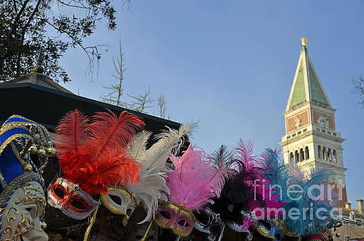 Traditional Venetian masks with feathers  by Sami Sarkis